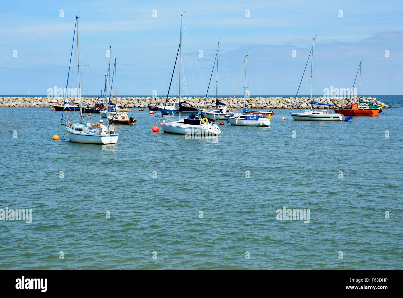 The harbour at Rhos-on-Sea - Stock Image