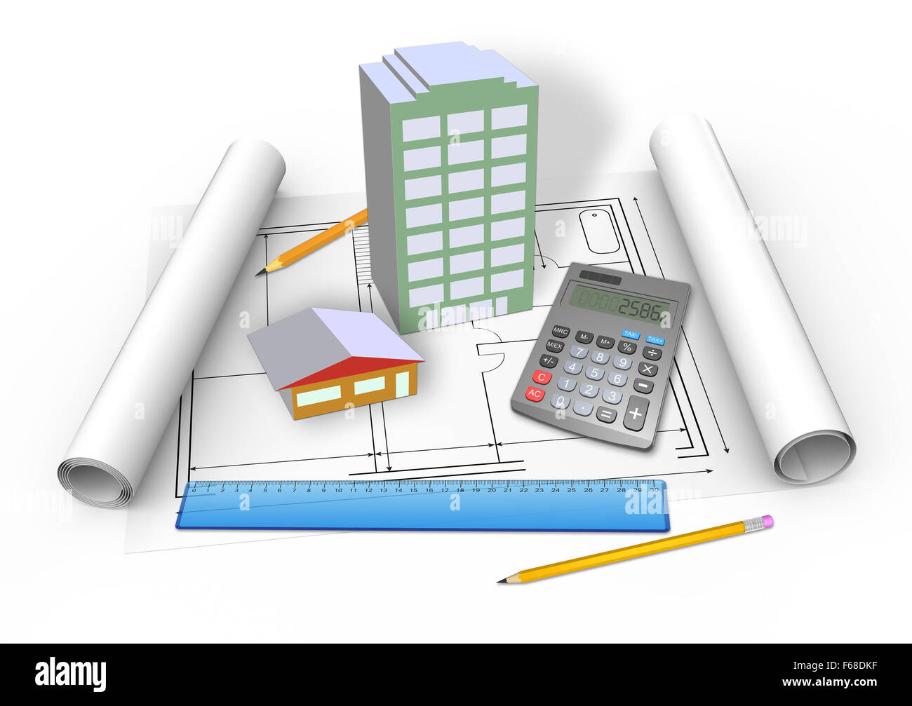 Models of houses with drawings - Stock Image