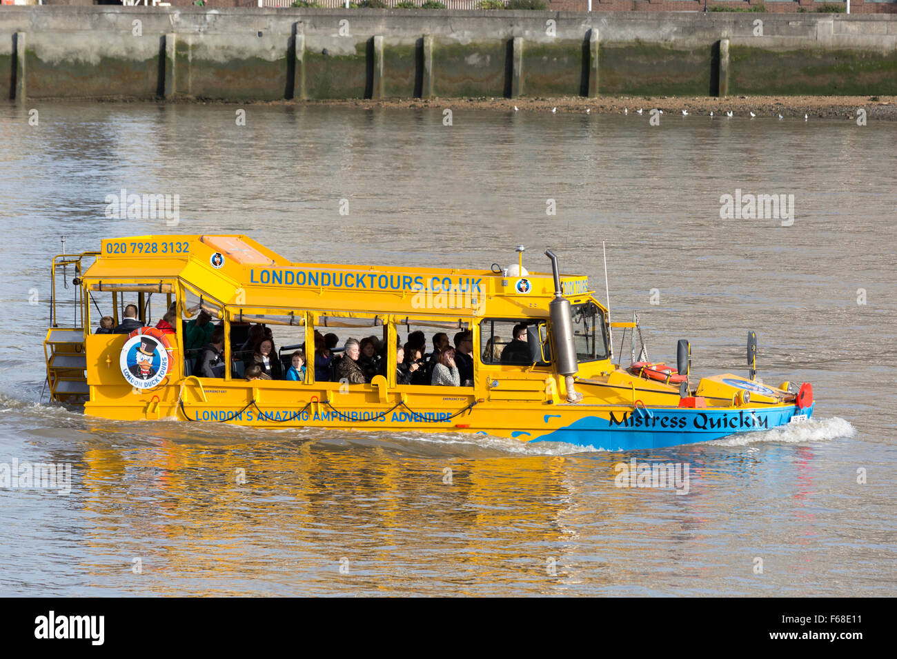 London Duck Tours amphibious vehicle on the river Thames, Lambeth, London - Stock Image