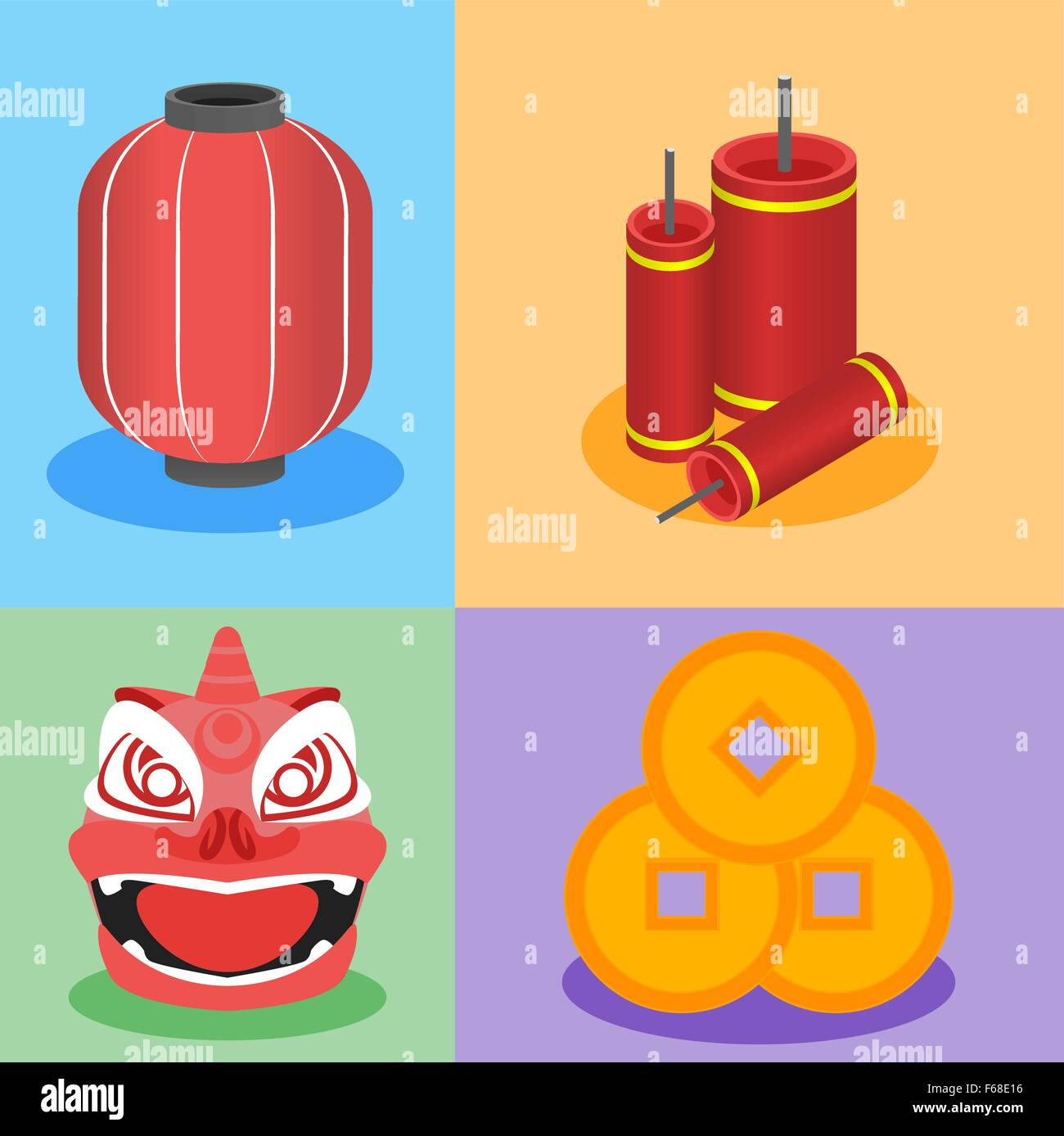 chinese element graphic in flat design style chinese lantern red