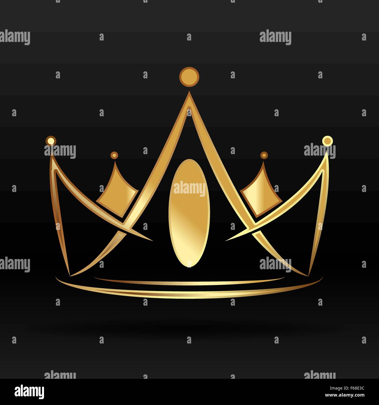Gold crown for logo and graphic designer - Stock Vector
