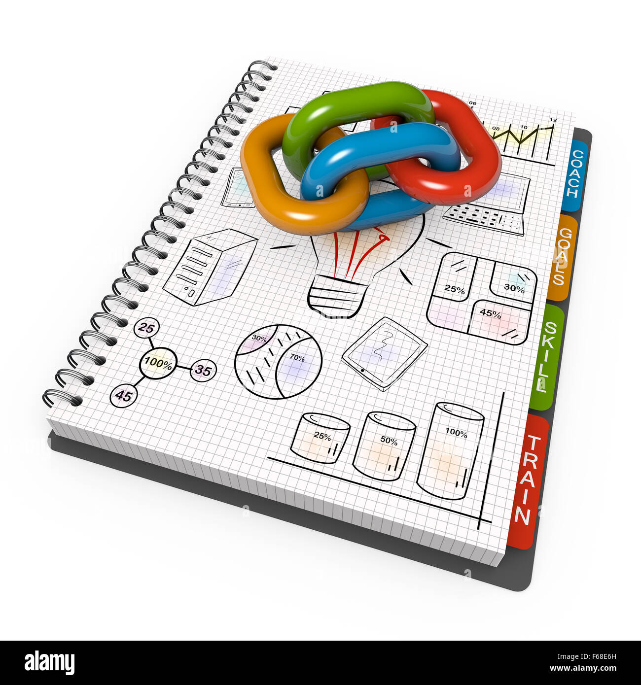 Spiral notebook with the associated chain - Stock Image