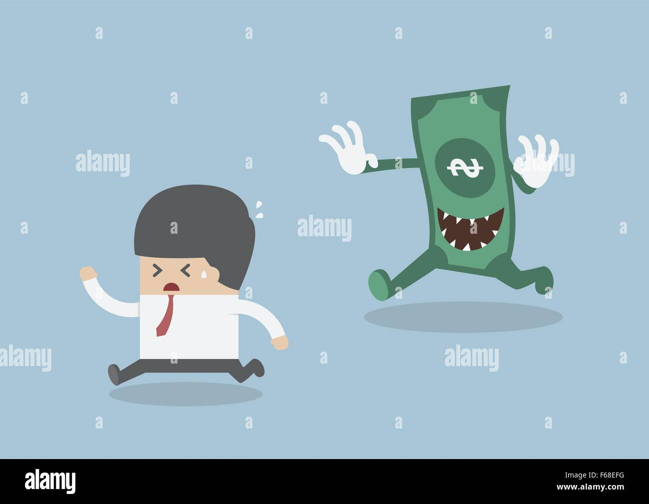 Businessman running away from the money monster, VECTOR, EPS10 Stock Vector