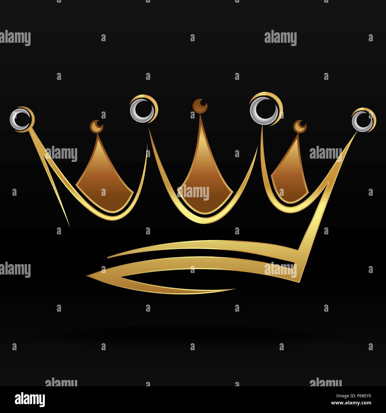 gold abstract crown for graphic design and logo on black