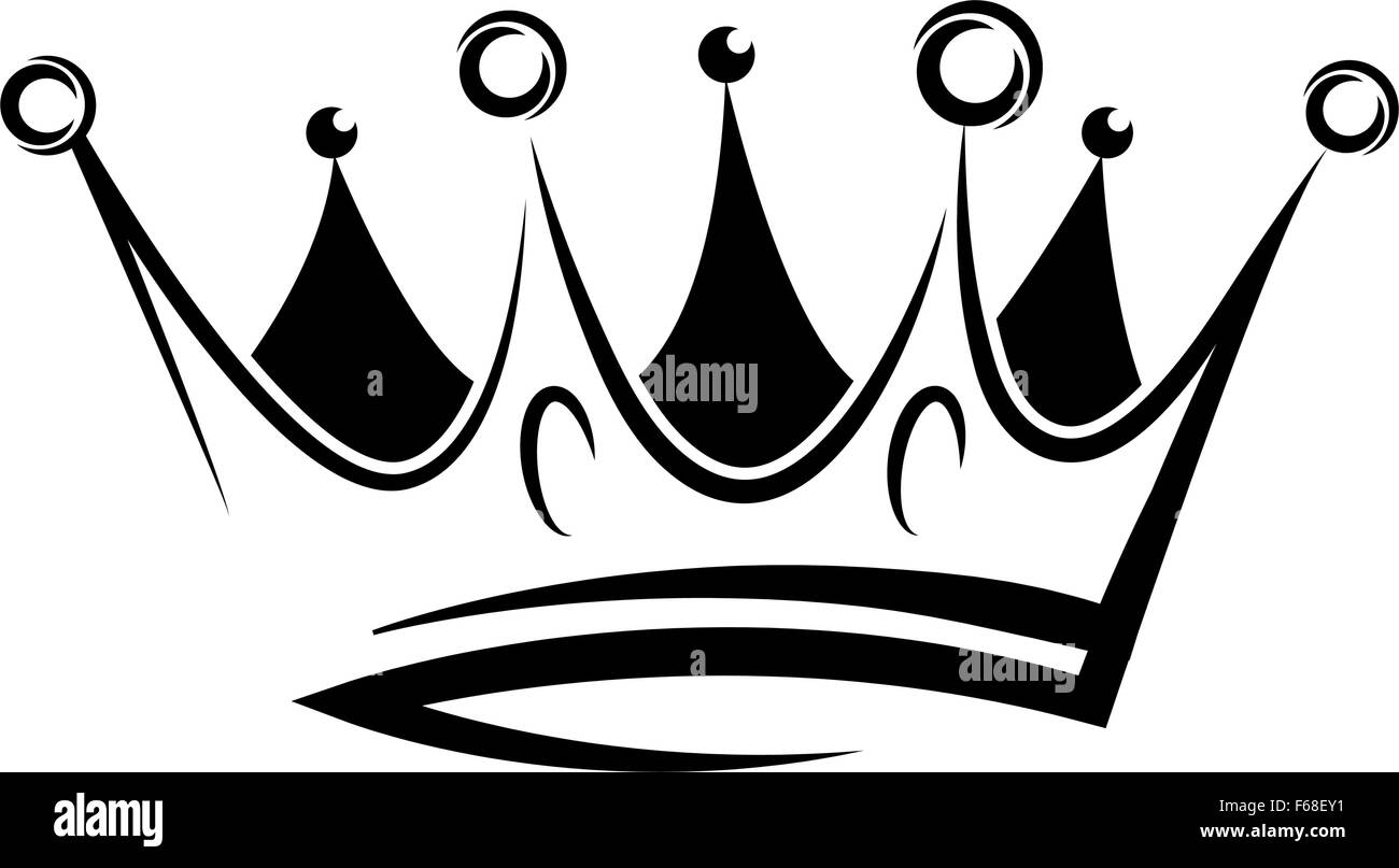 Black abstract crown for graphic design and logo on black background - Stock Vector