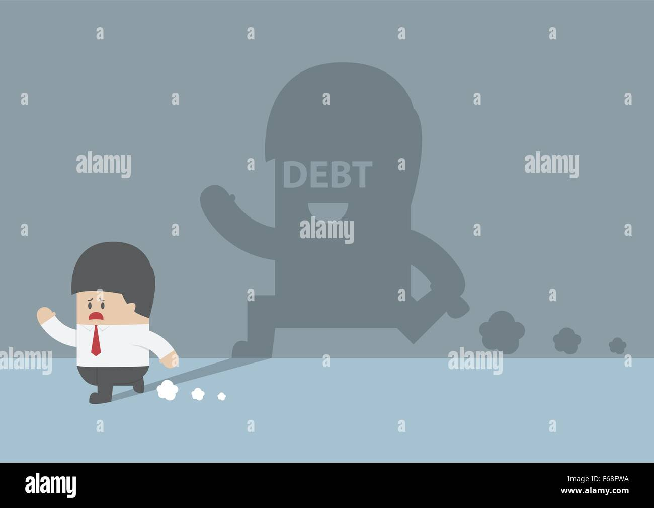 Businessman followed by debt shadow, VECTOR, EPS10 - Stock Vector