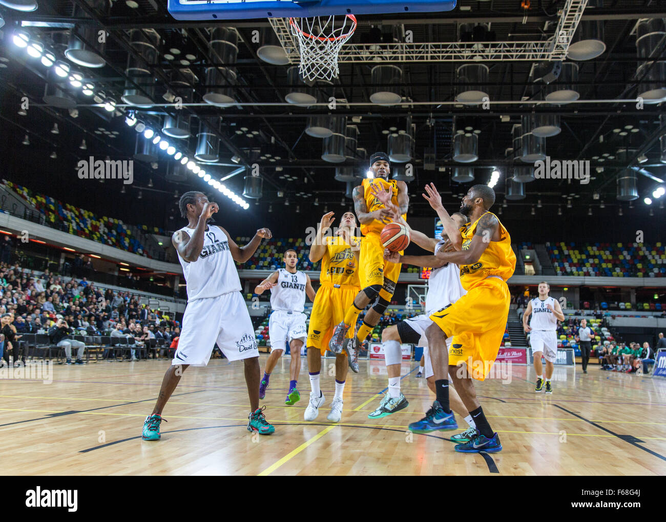 Olympic Park, London, UK, 13th November, 2015. Lions' no 11 Nick Lewis at the basket. Lions win 85-60. copyright Stock Photo