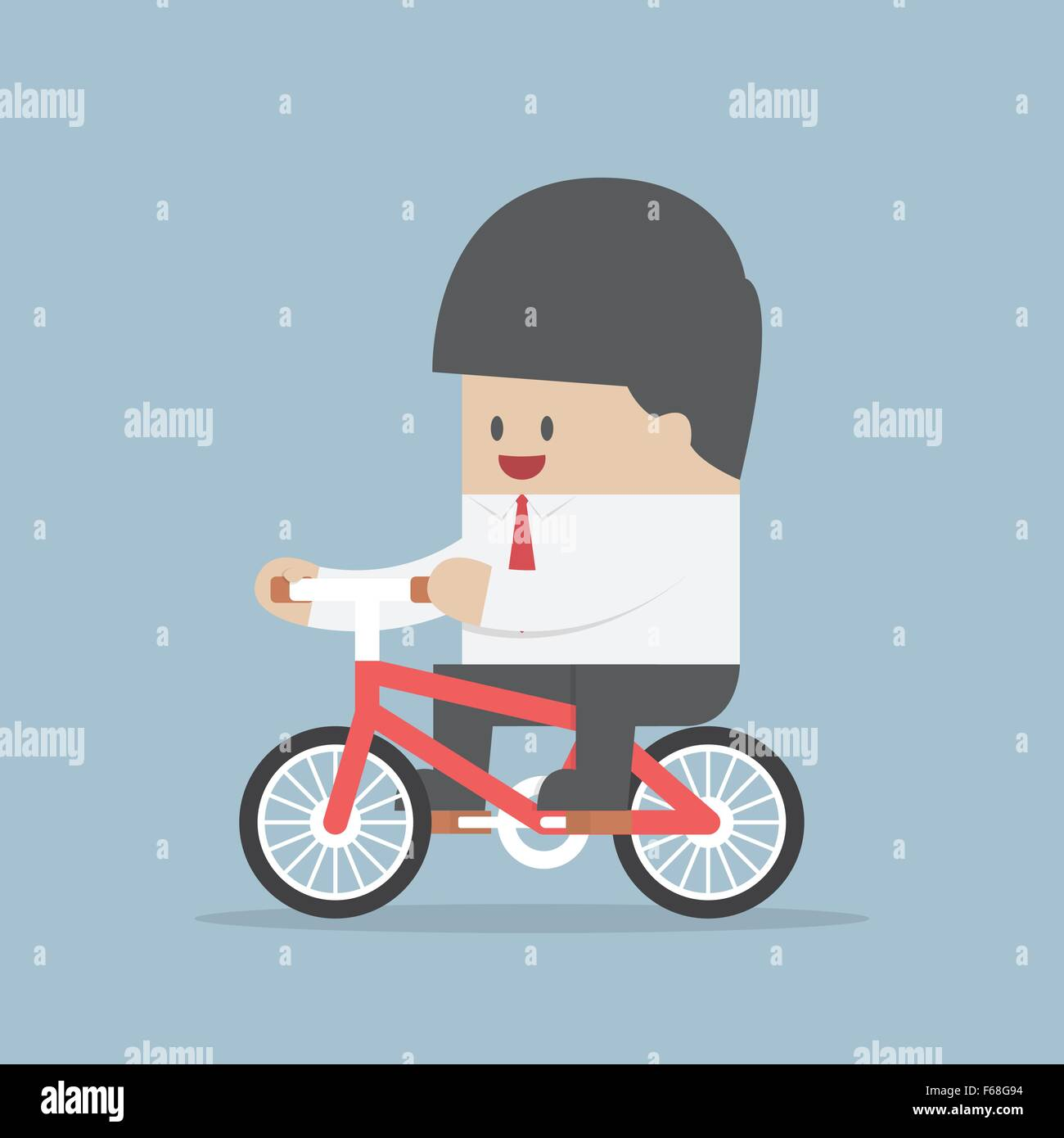 Businessman riding a bicycle to work, VECTOR, EPS10 - Stock Image