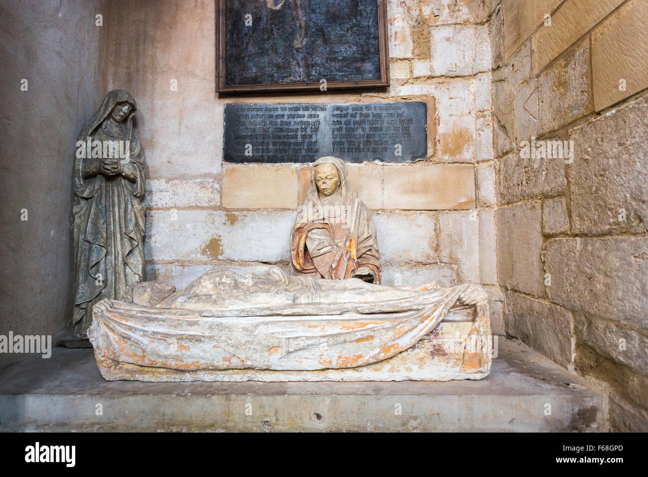 Stone tomb in Collegiale Notre-Dame church in the village of Ecouis, Normandy, northern France - Stock Image