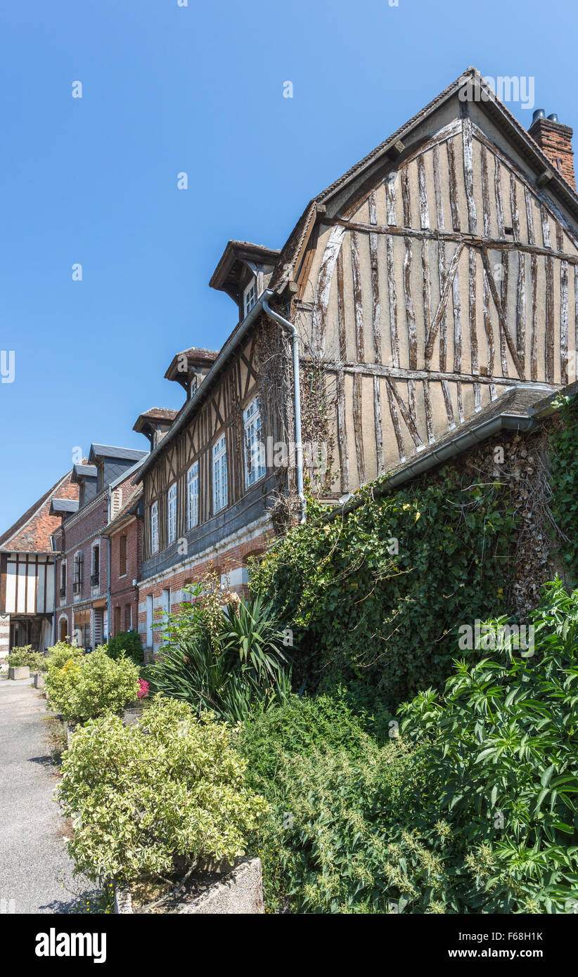 Typical timbered house in Ecouis, Normandy, northern France - Stock Image