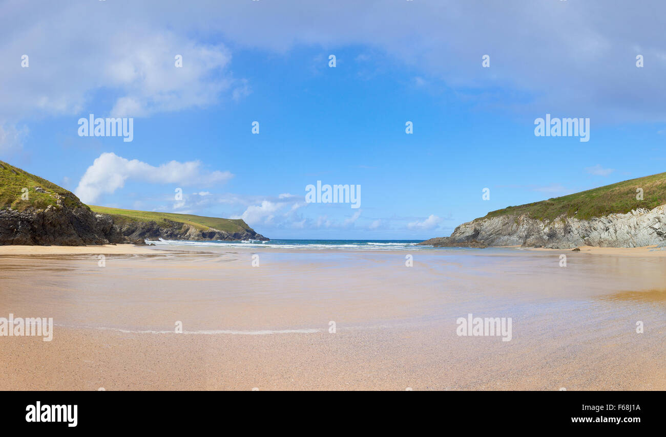 Wide Empty Beach at Porth Joke in Cornwall, UK. - Stock Image