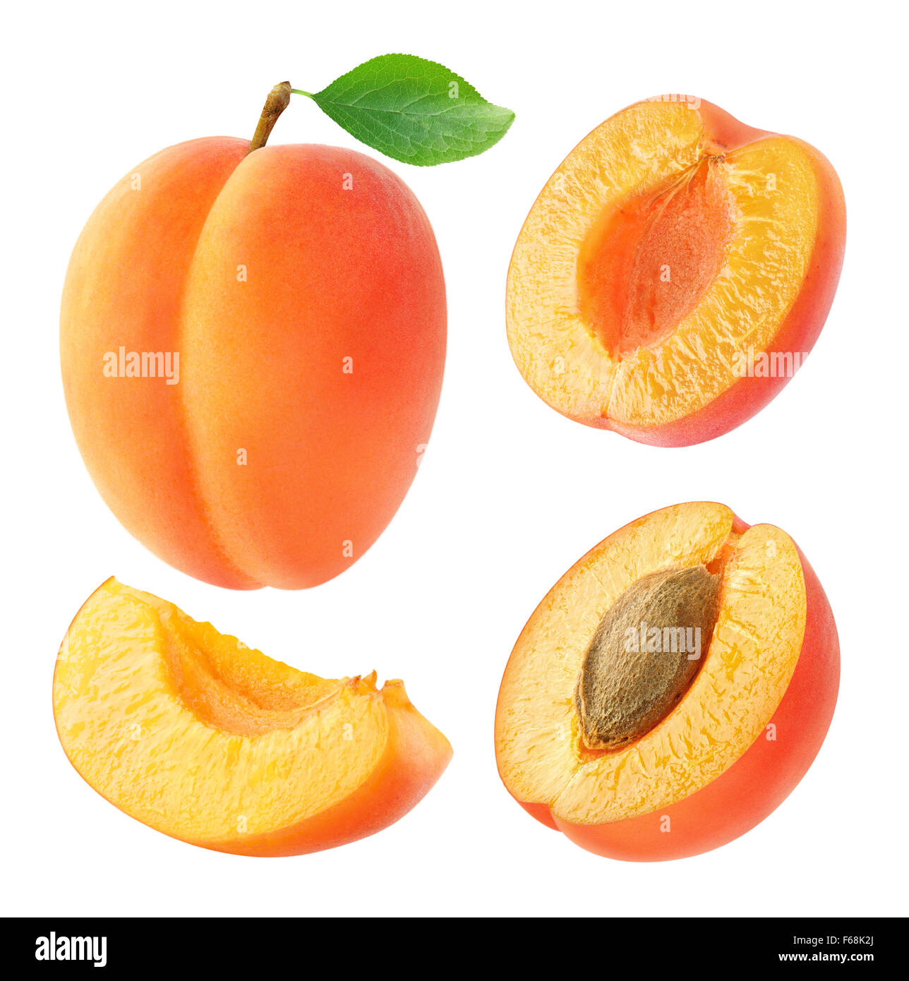 Collection of whole and cut apricots isolated on white with clipping path - Stock Image