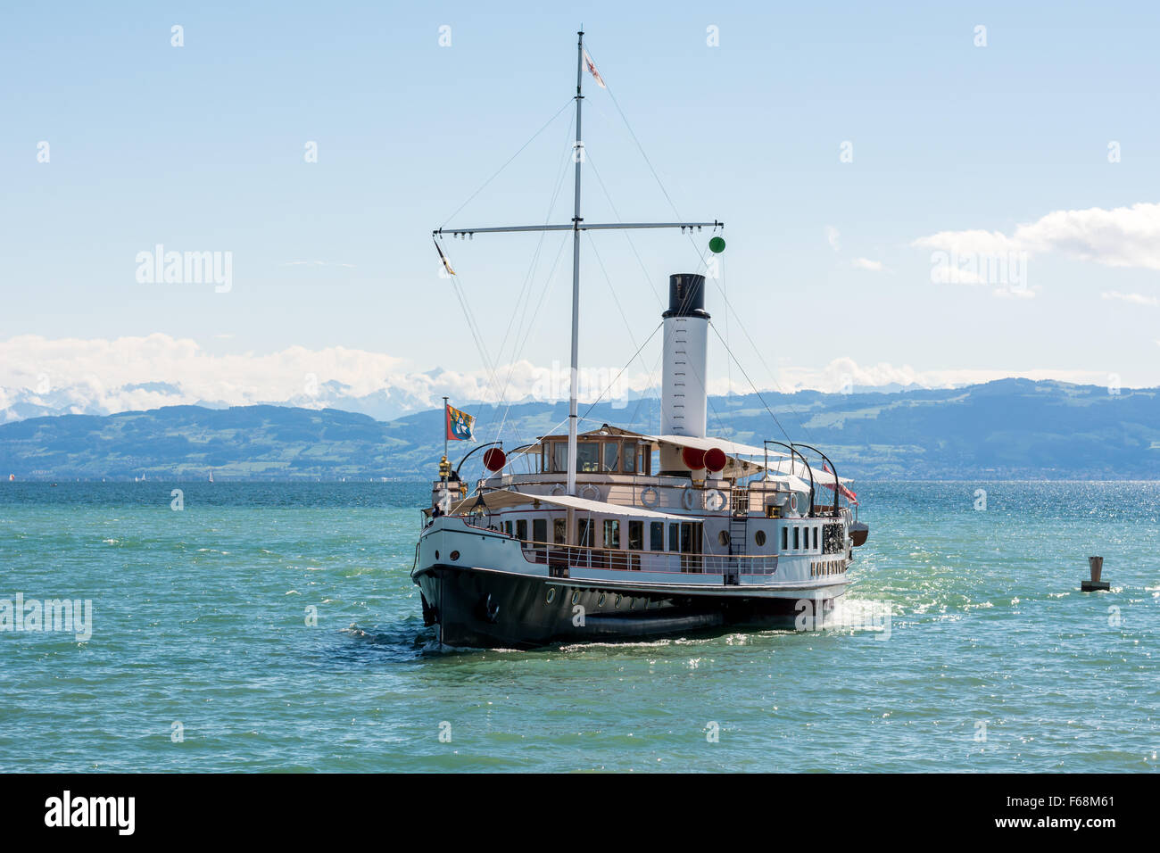 """Old style steam boat """"Hohentwiel"""" in Lake Constance (Bodensee) Stock Photo"""