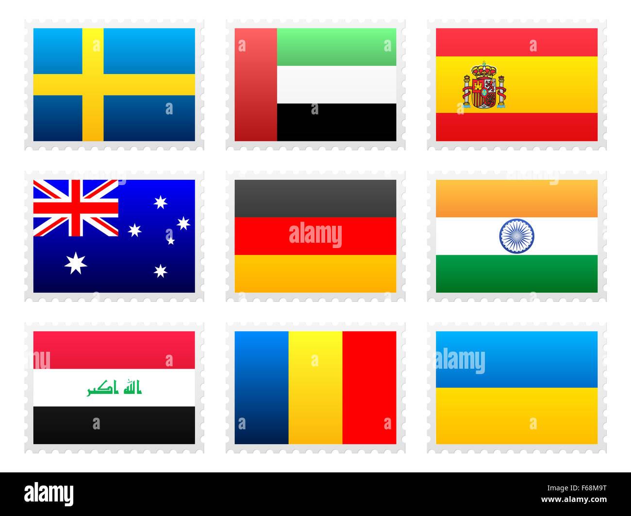 National flag set on a white background. - Stock Image