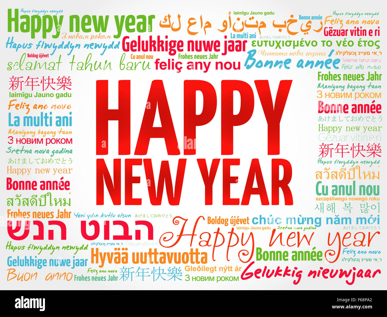 happy new year in different languages celebration word cloud greeting card