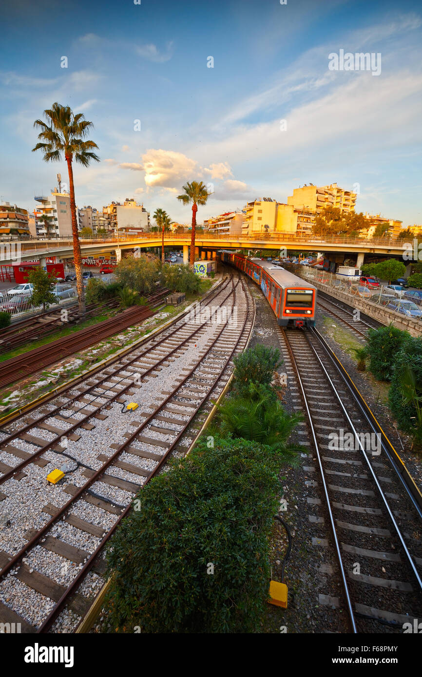 Tracks of the Athenian Metro line 1 running from Piraeus to Kifissia as seen from the station of Neo Faliro - Stock Image