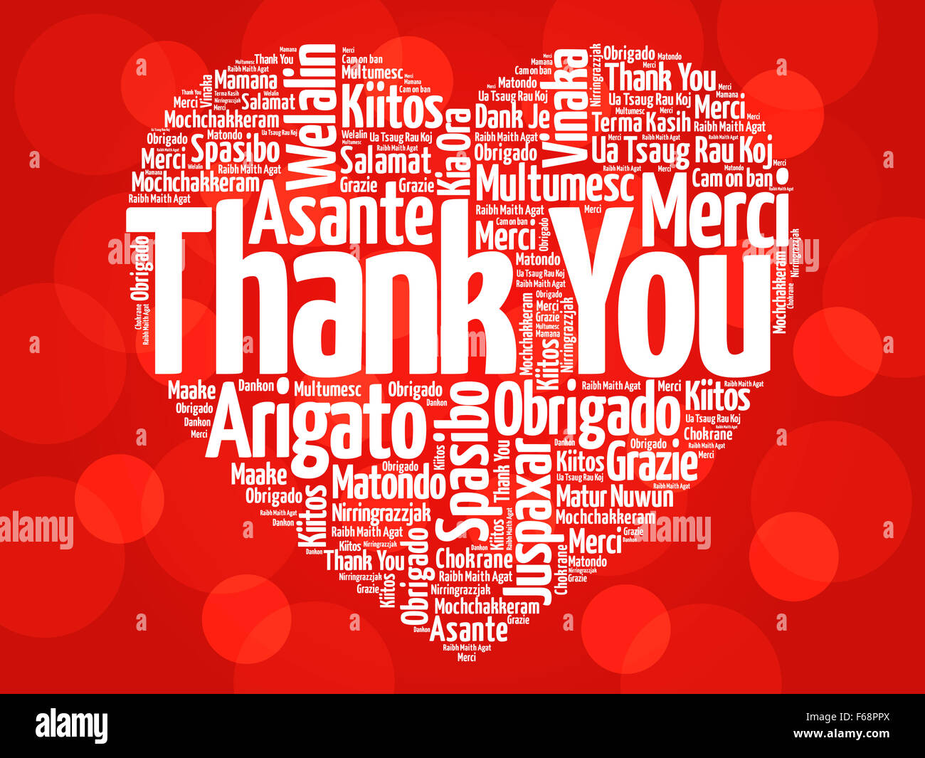Thank You in many languages, love heart concept - Stock Image