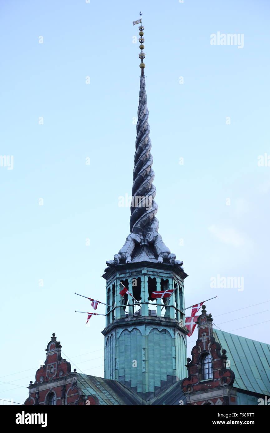 Copenhagen, Denmark. 14th November, 2015. The Danish flag is flown at half mast on public buildings and around the - Stock Image