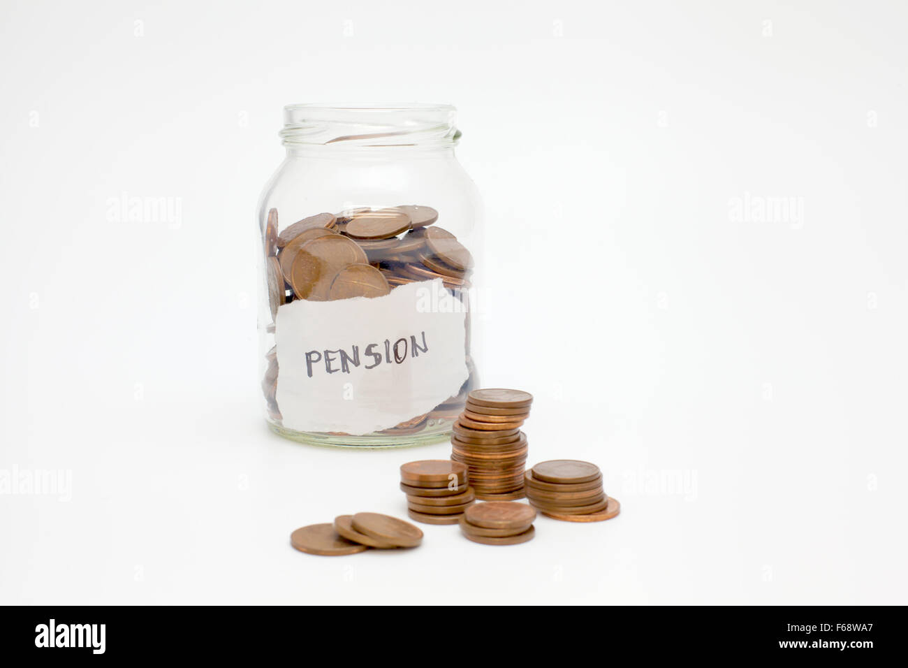 Pension (coins in a glass jar) - Stock Image