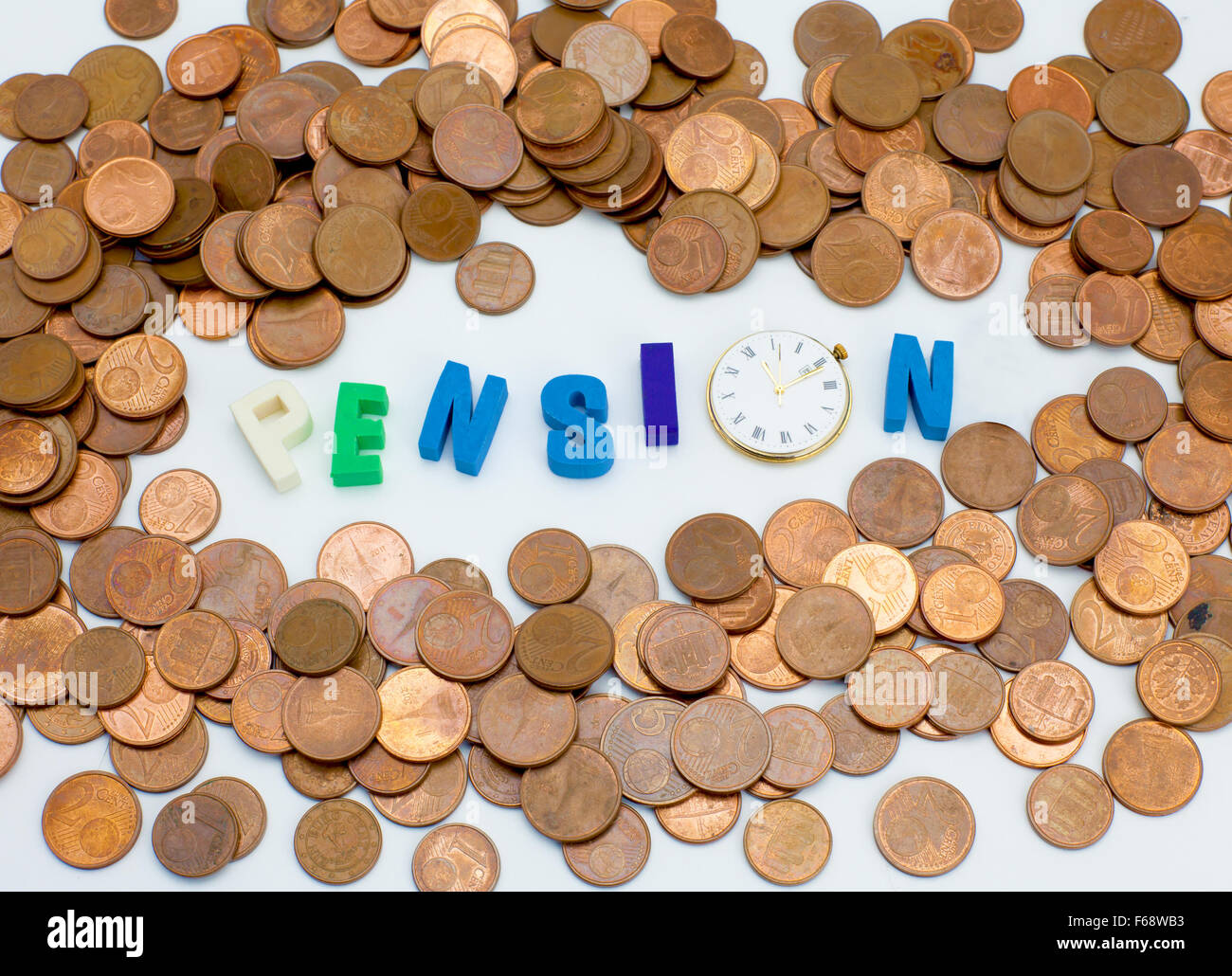 Pension - word letters with a clock - Stock Image
