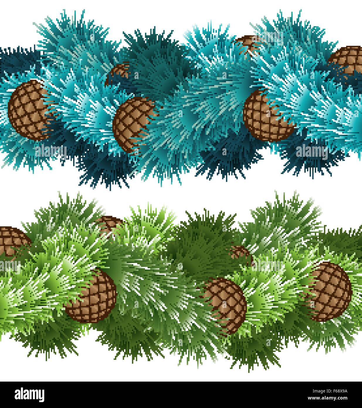 Conifers cones in pine branches - Stock Vector