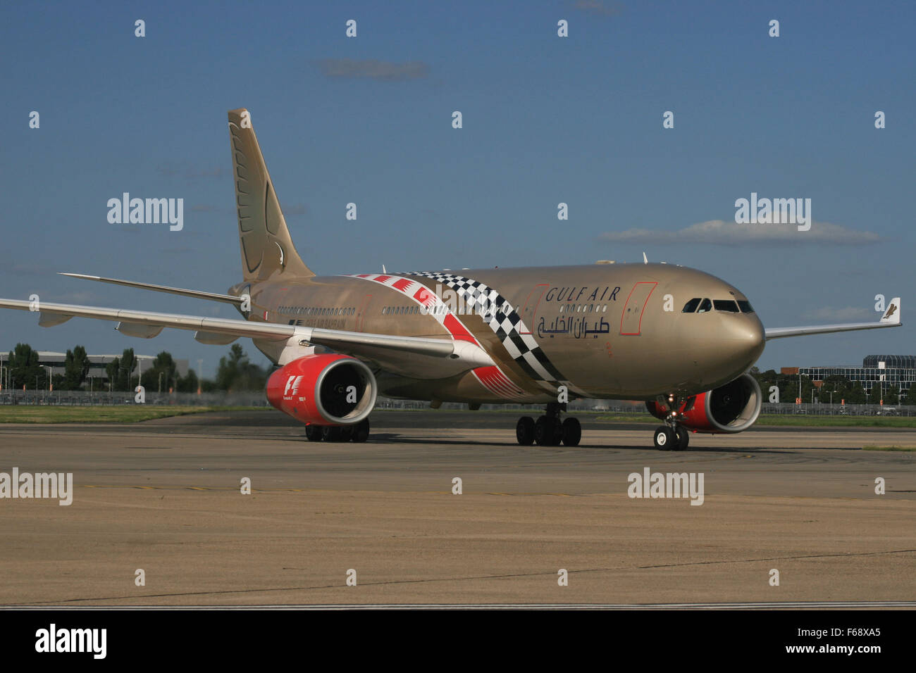 GULF AIR A330 IN FORMULA ONE COLOURS - Stock Image
