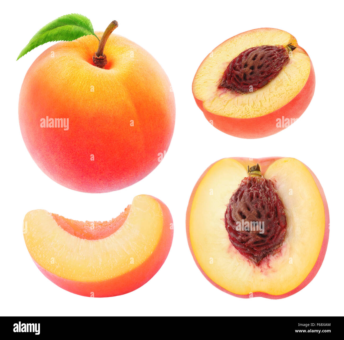 Collection of whole and cut peaches isolated on white with clipping path - Stock Image