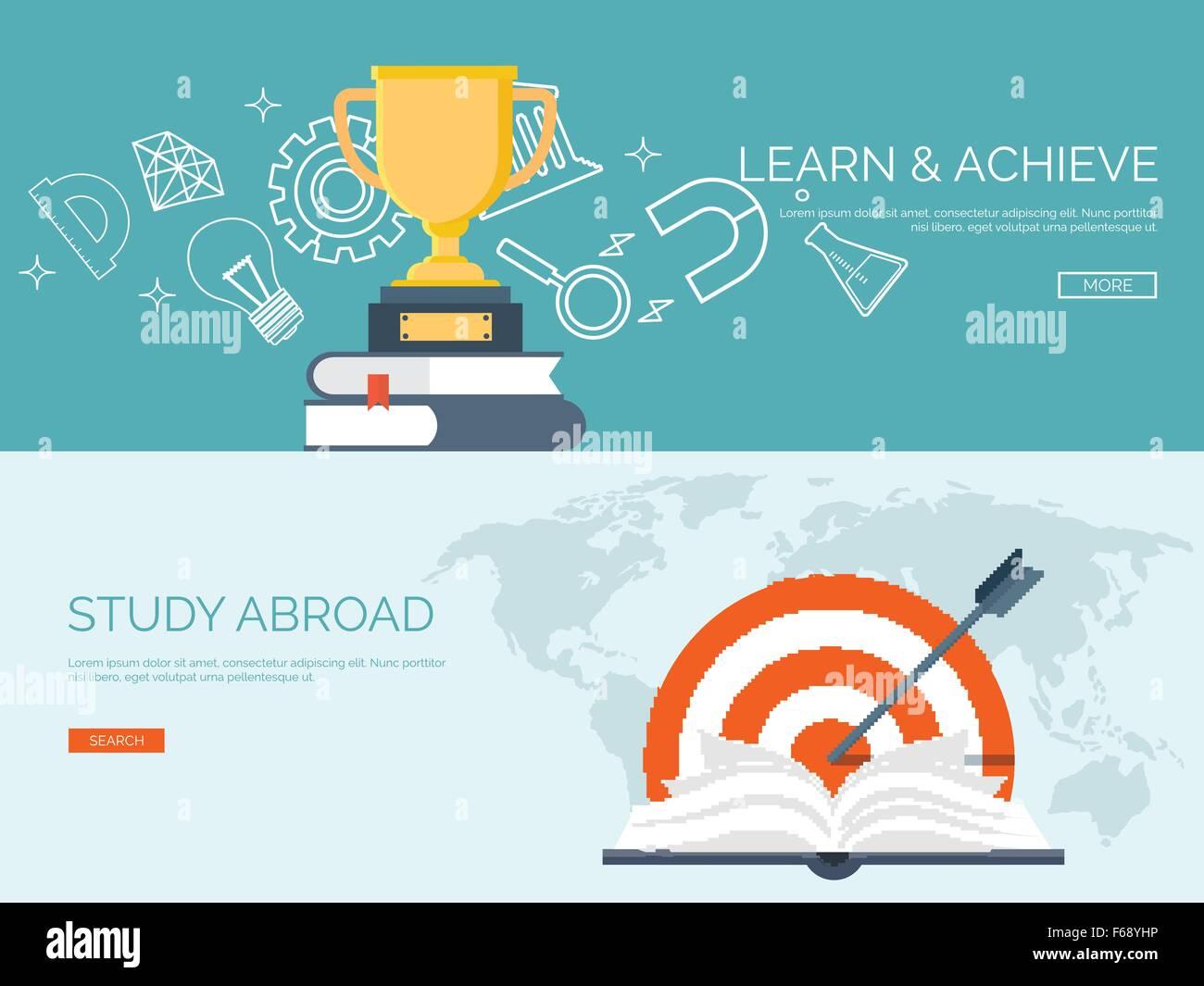 Vector illustration  Flat backgrounds set  Distance education Stock