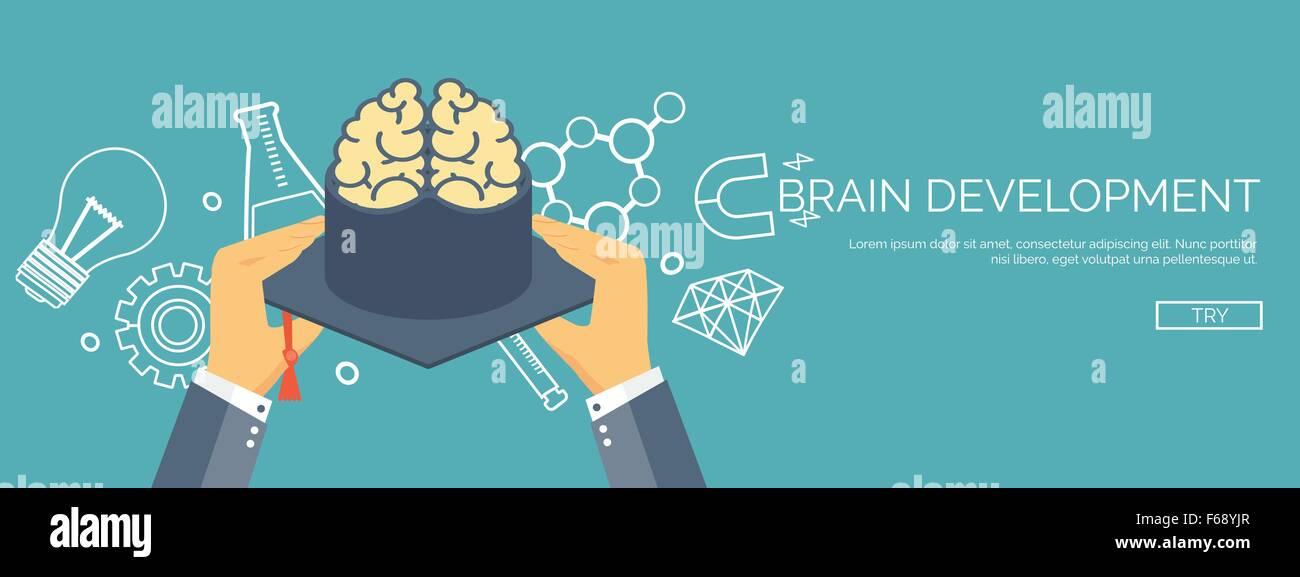 Vector illustration  Brains , academic cap  Education , online Stock