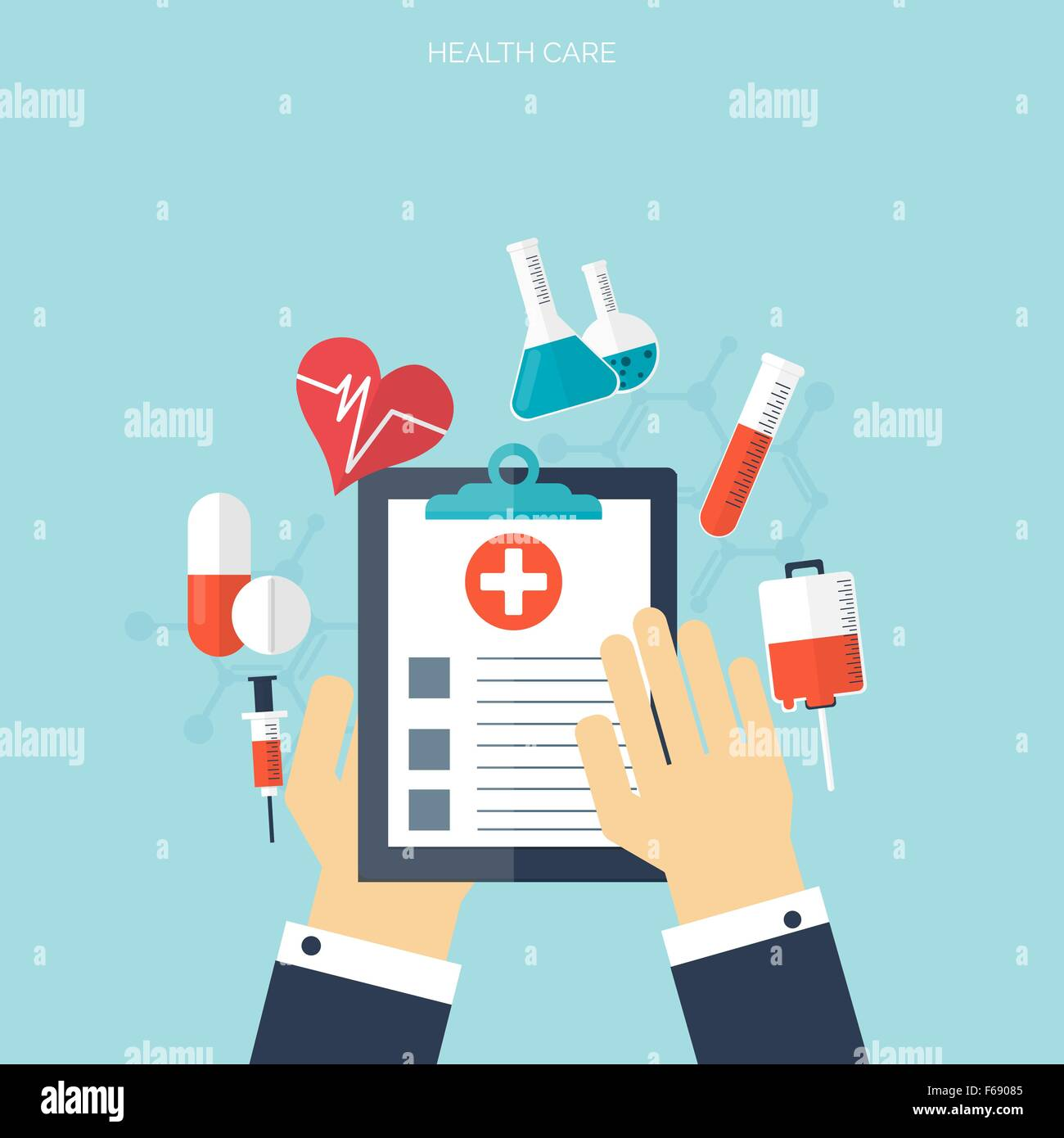 flat health care and medical research background healthcare system
