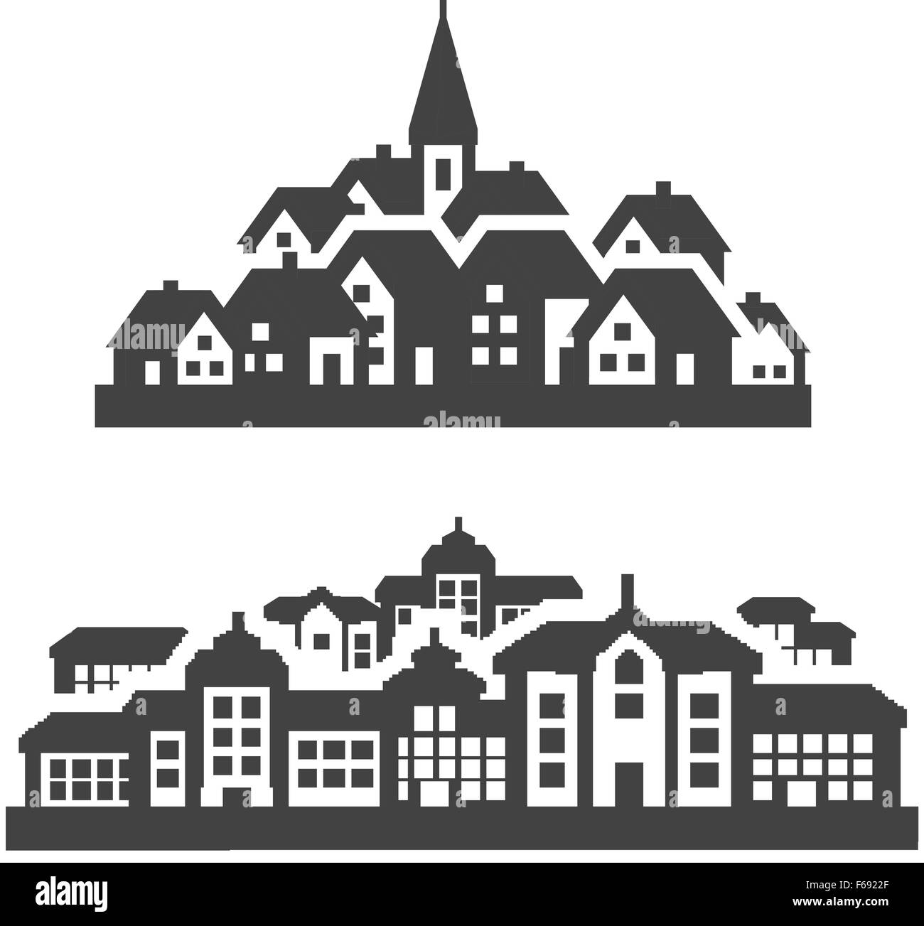 City, Town Icons Set. Signs And Symbols Stock Vector Art