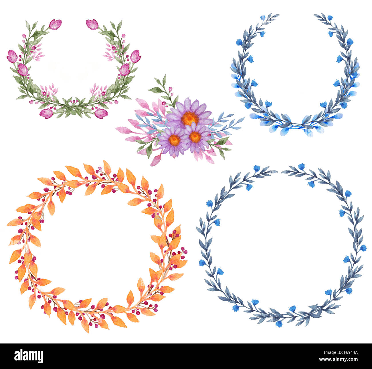 Hand drawn watercolor frames with flowers and leaves Stock Photo ...