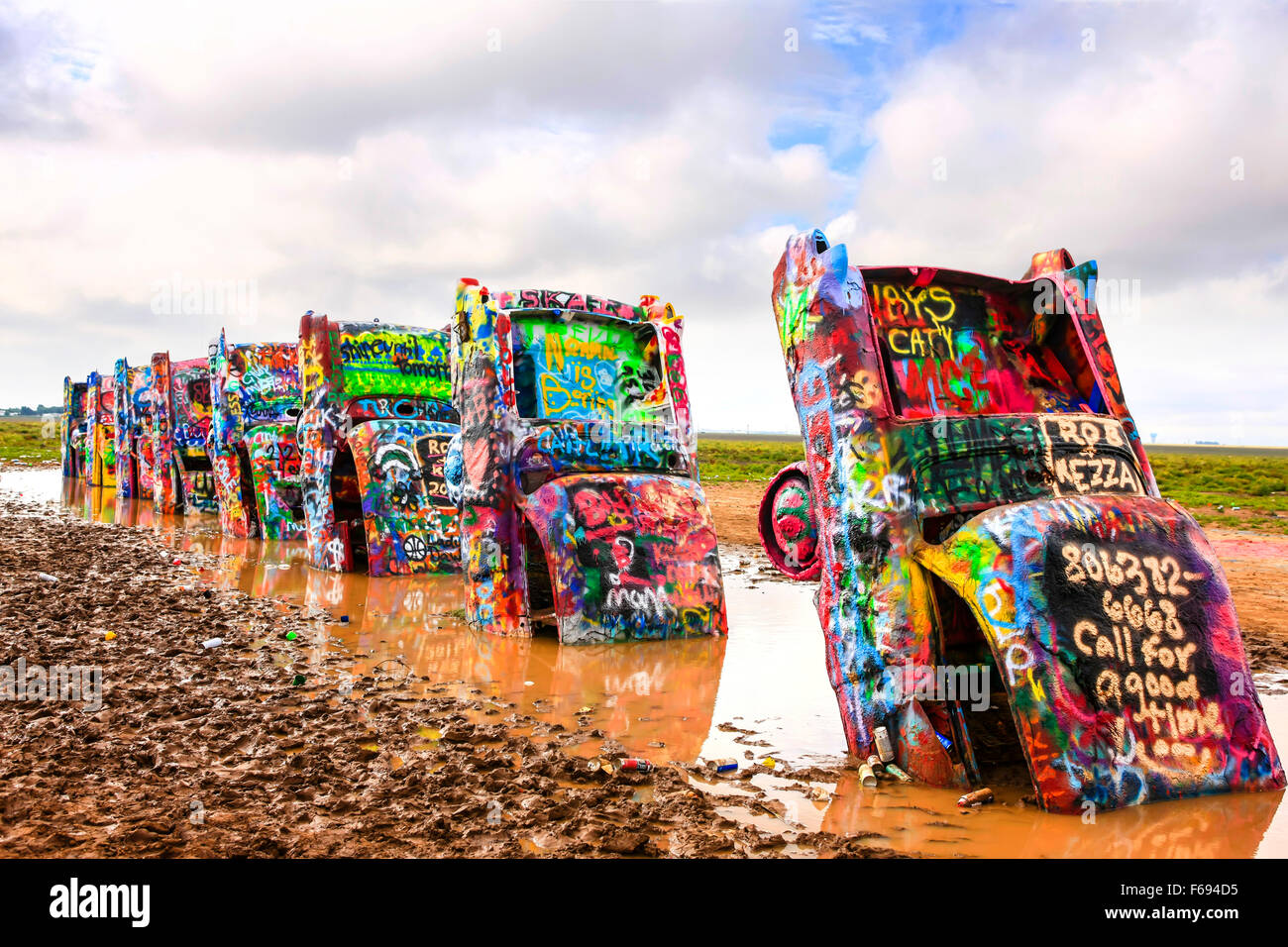Cadillac Ranch public art sculpture in Amarillo, Texas. Created in