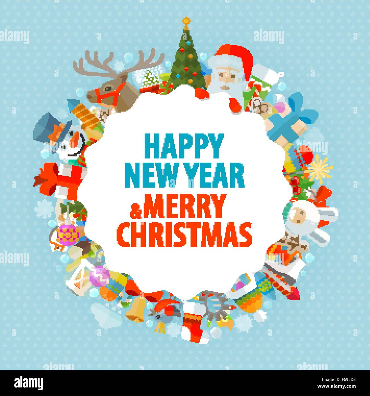 Happy new year and merry Christmas. Greeting card Stock Vector Art ...