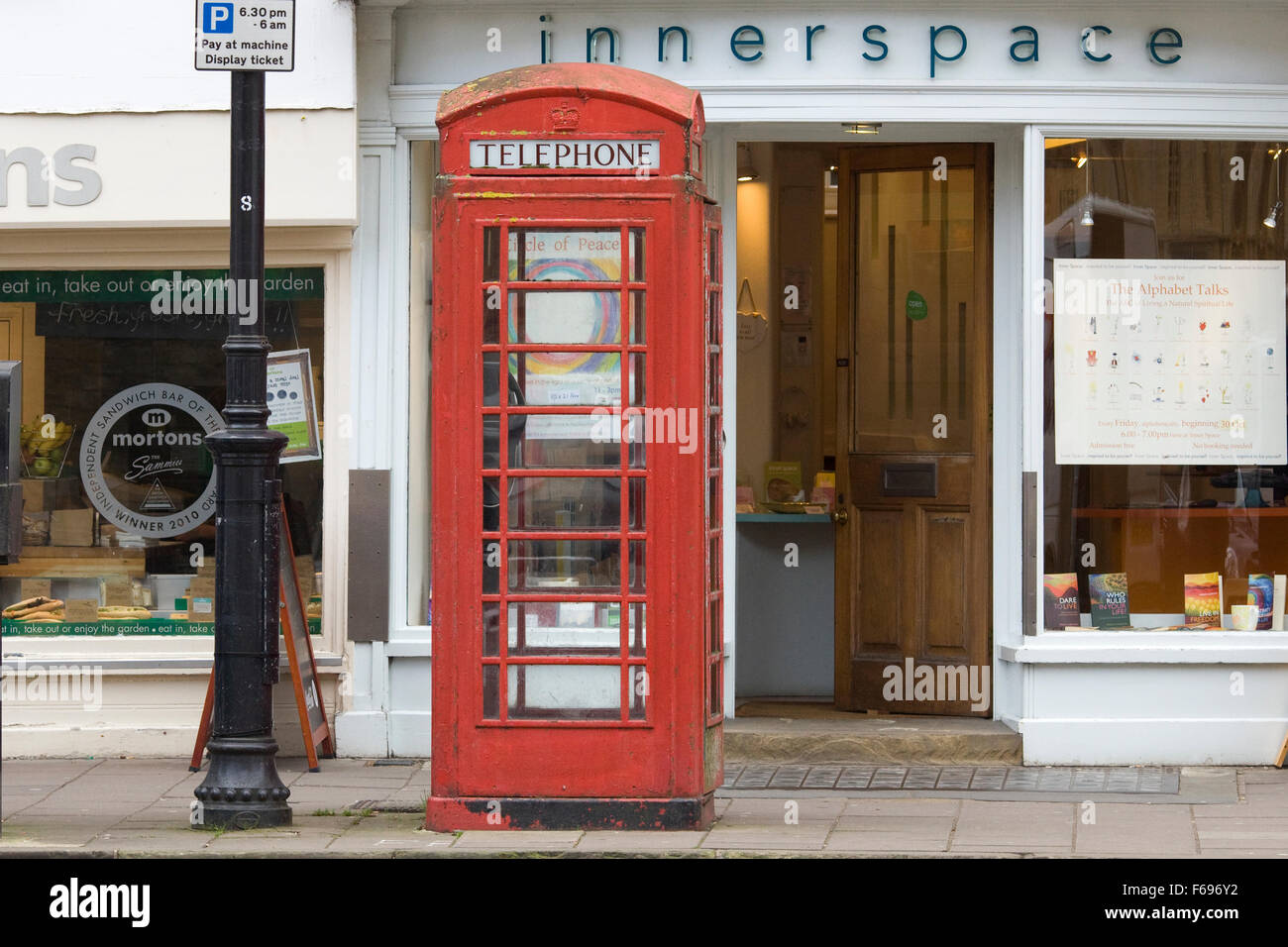 Red telephone box on Oxford High street - Stock Image