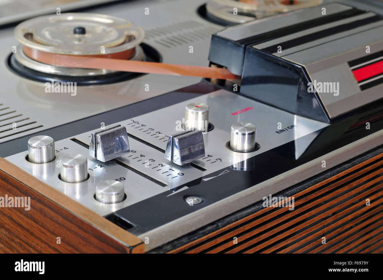 Close up photo of old reel to reel tape player - Stock Image