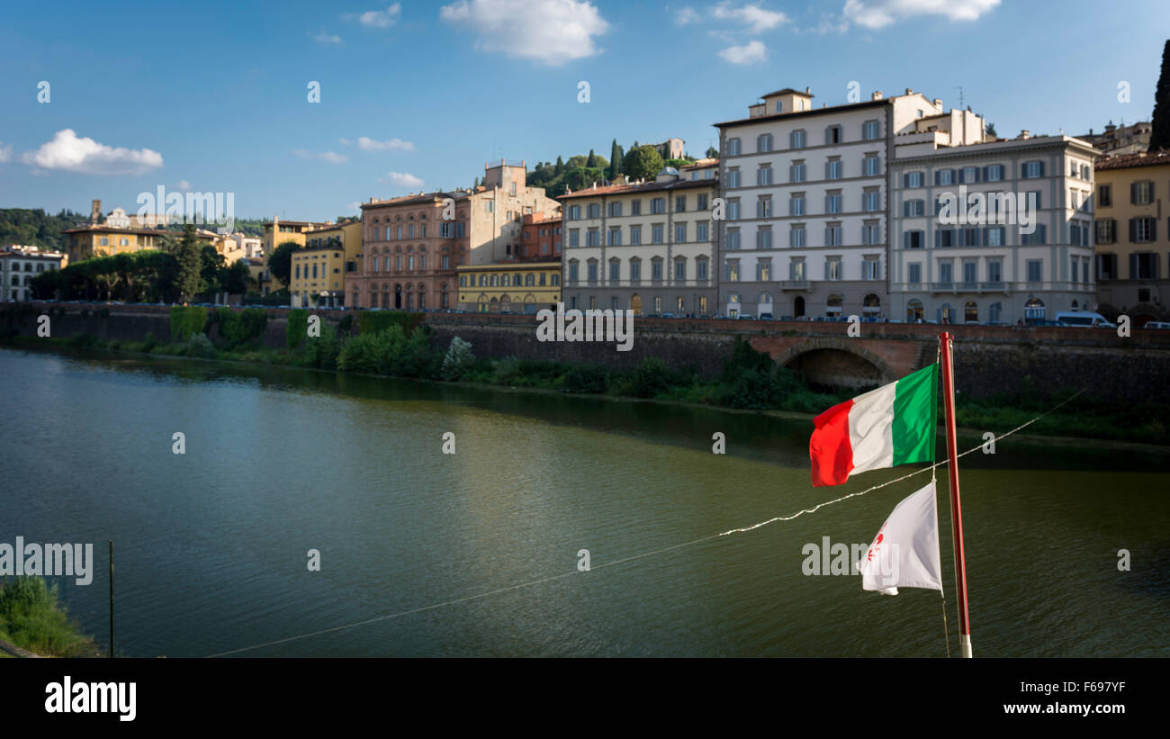 Arno river in Florence, Italy - Stock Image