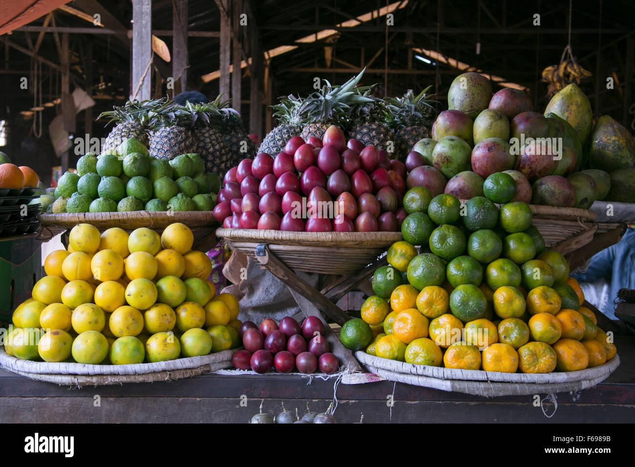 Produce market in Rwanda. Stock Photo