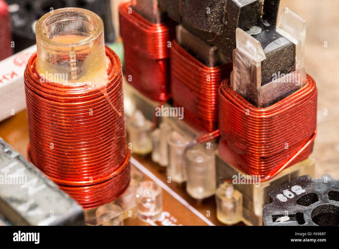 RF coils in a radio circuit - various electronic components - Stock Image
