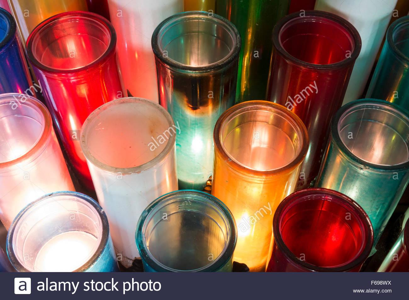 Devotion Candles at Baie-Saint-Paul Church, Baie-Saint-Paul, Quebec, Canada - Stock Image