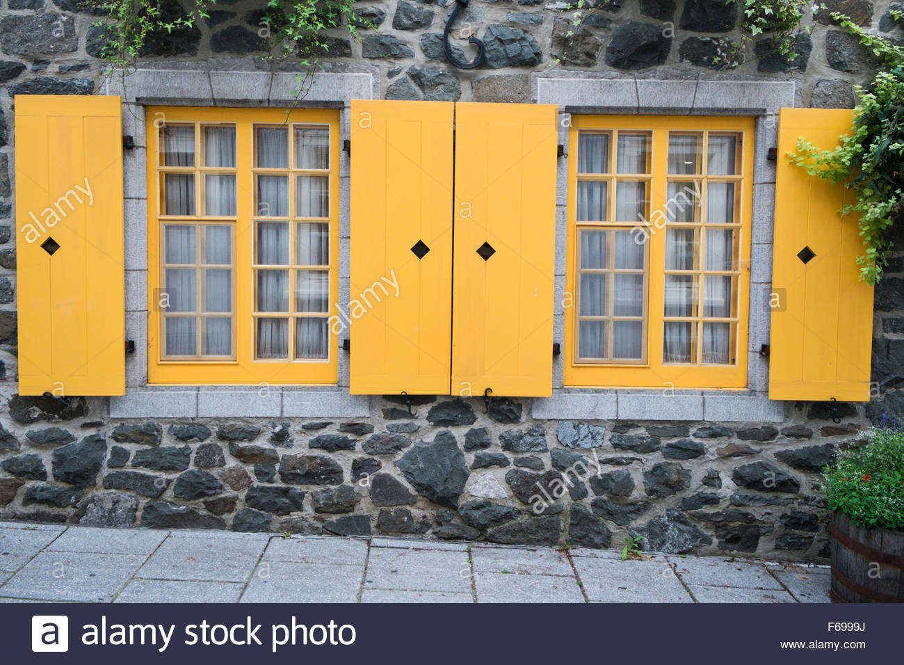 Yellow Windows at Lower Town Old Quebec (Basse-Ville), Quebec City, QC, Canada - Stock Image