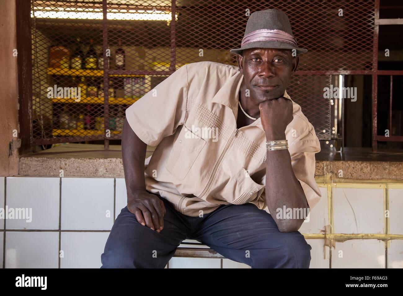 Namibian boxer at Tytanic bar, Fort Sesfontein, Africa - Stock Image