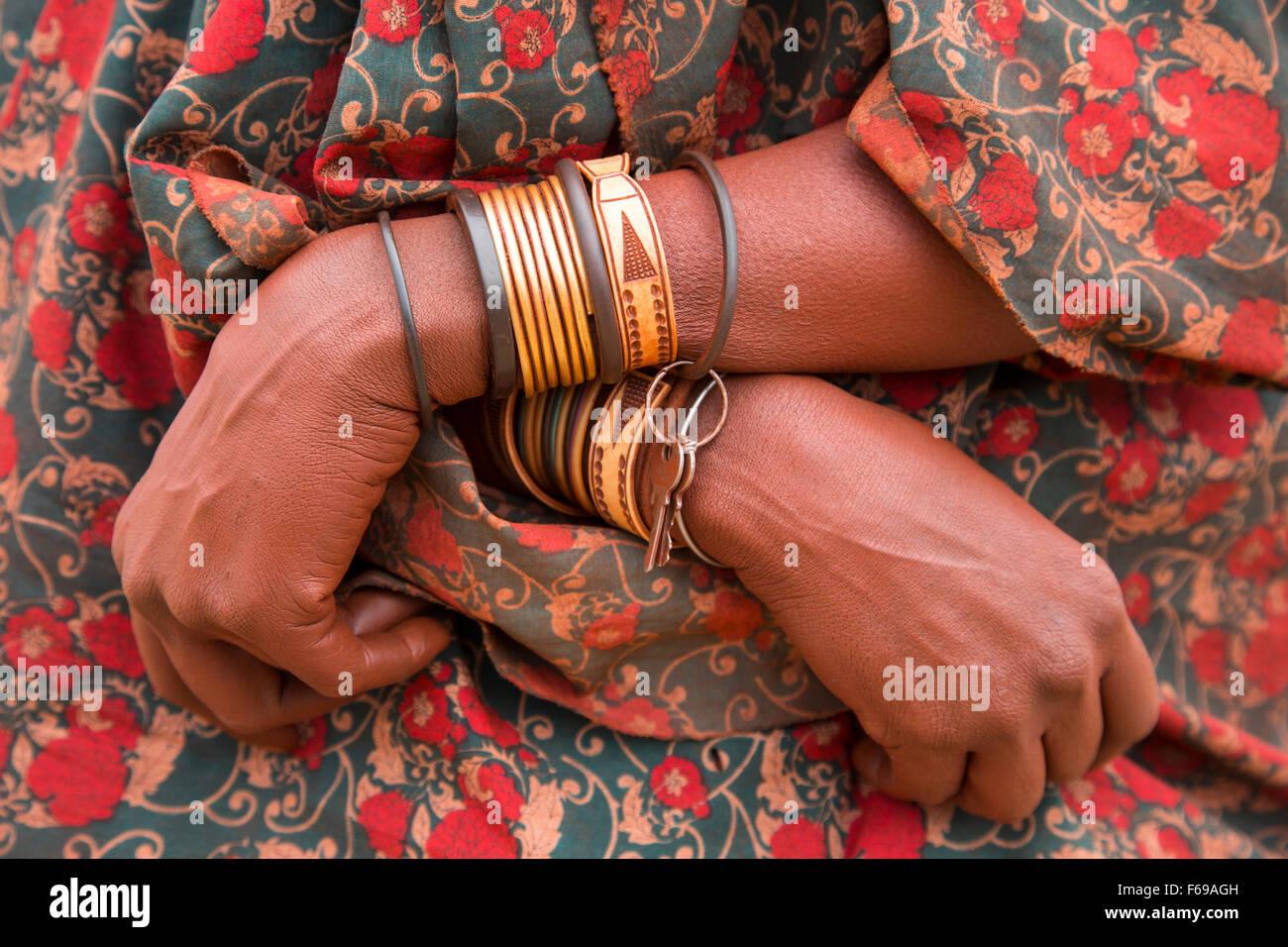 Himba woman's bracelets, Kaokoveld, Namibia, Africa - Stock Image