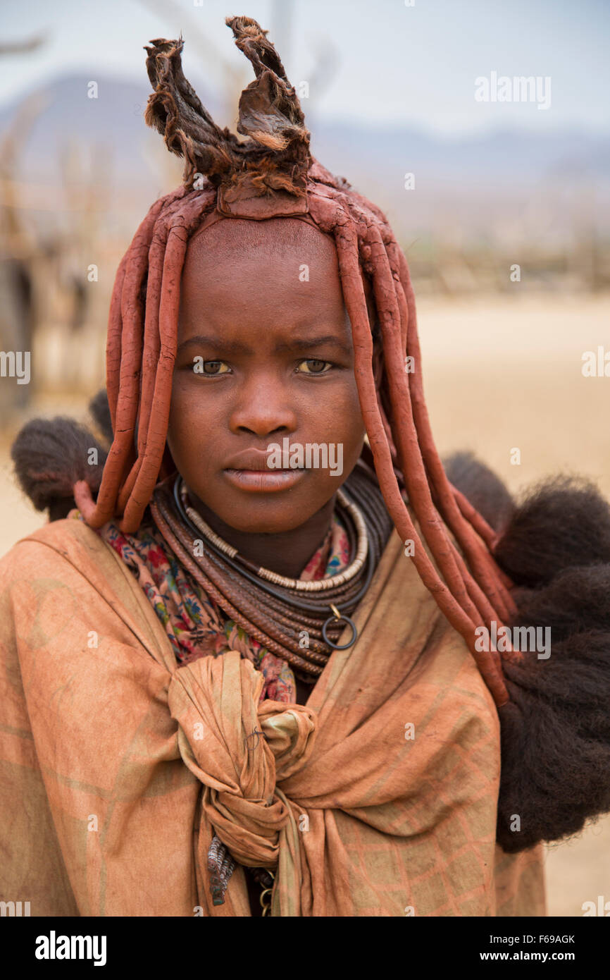 Himba woman in Kaokoveld, Namibia, Africa - Stock Image