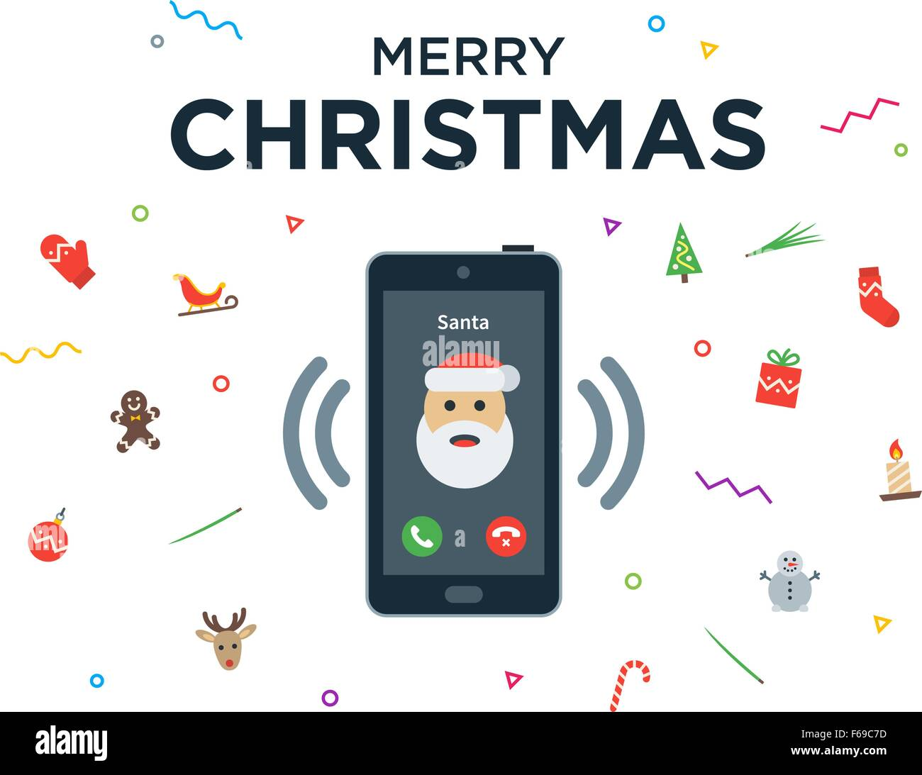 Christmas phone call from santa claus with greeting card and happy christmas phone call from santa claus with greeting card and happy new year lettering m4hsunfo