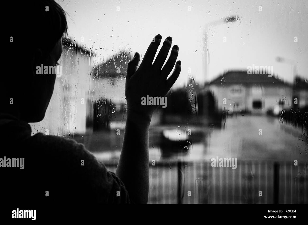 Looking out at the rain - Stock Image