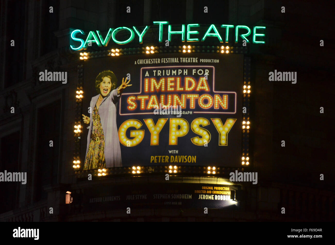 London, UK, 14 November 2015, Imelda Staunton Name In Lights At The Savoy  Theatre In The Production Of Gypsy.
