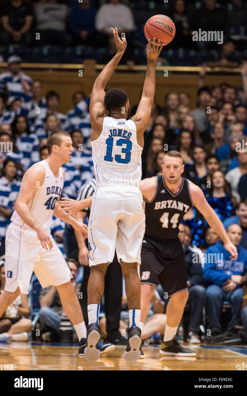 Durham, NC, USA. 14th Nov, 2015. Duke Blue Devils guard Matt Jones (13) in action during NCAA basketball game between - Stock Image