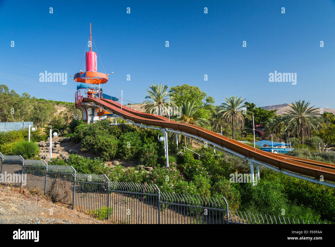 A water slide park in the Golan of Israel, Middle East. - Stock Image
