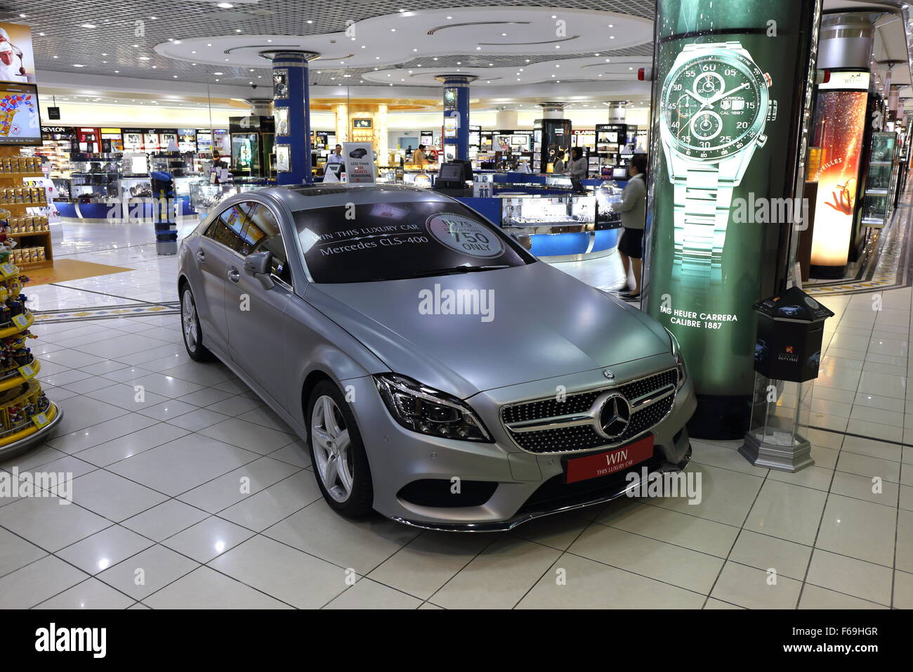 A Mercedes CLS 400 - the prize at the Bahrain Airport Duty Free raffle, October 2015, Muharraq, Kingdom of Bahrain - Stock Image